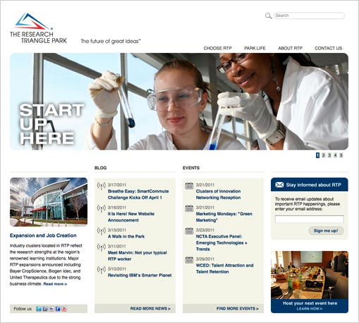 a screenshot of the new RTP website home page